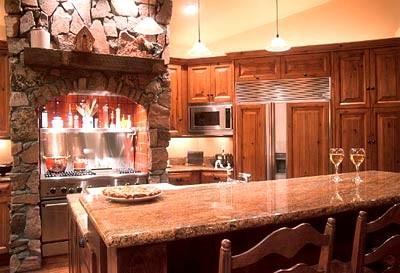 Iluminação de cozinha rústica