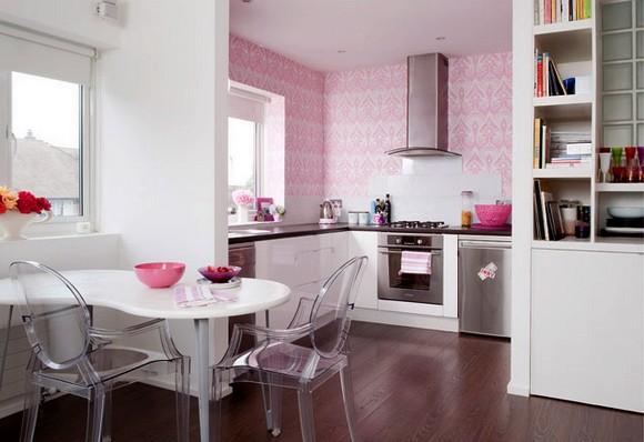 decoracao de interiores papel de parede:Cozinha decorada com papel de parede cor de rosa
