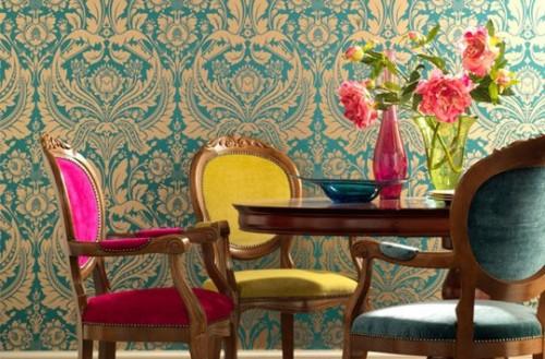 Cadeiras de tecido com várias cores