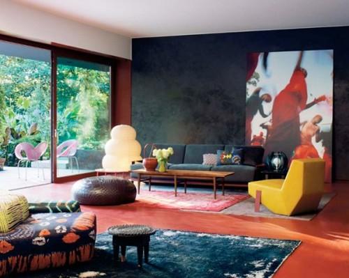 decoração de sala moderna colorida