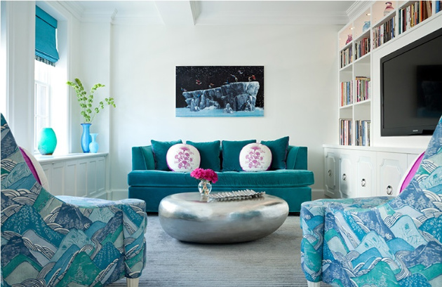 sala decorada em tons de azul