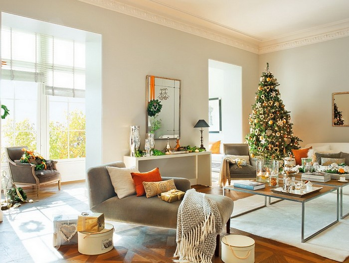 15 ideias m gicas de natal para decorar sua sala - Salones decorados para navidad ...