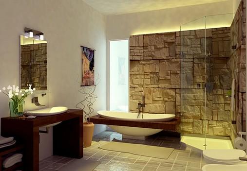 Banheiros decorados com pedras
