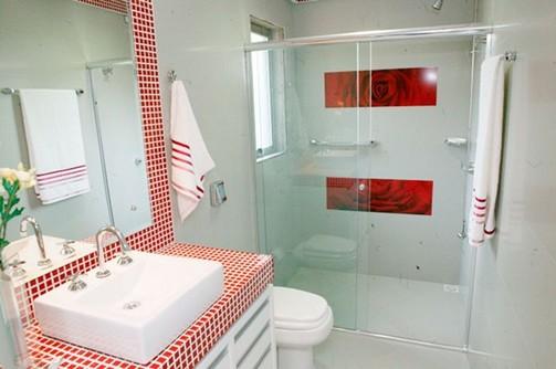 Banheiros com pastilhas vermelhas -> Banheiro Branco Com Pastilhas Vermelhas